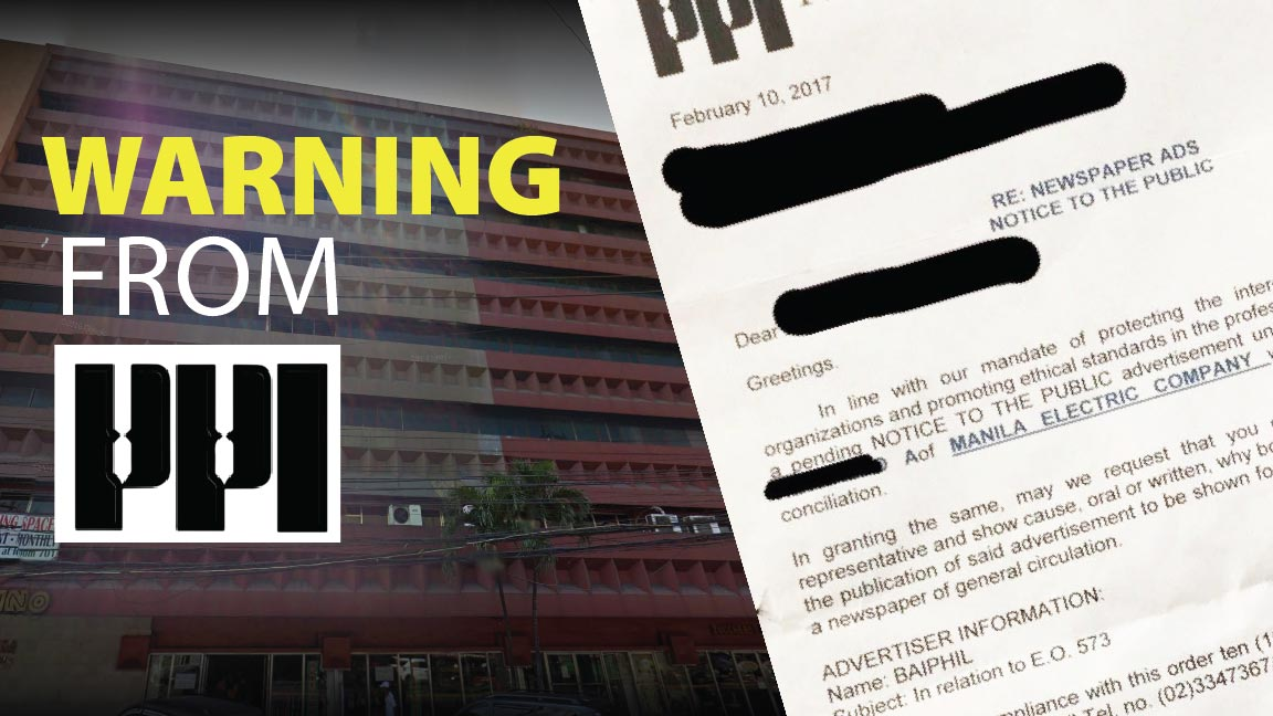 Warning from PPI to Scammers